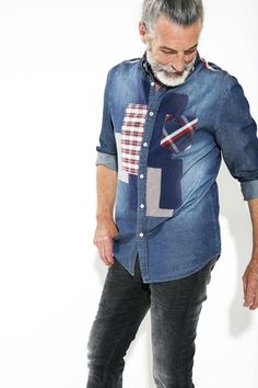 This denim shirt with its patchwork check details is the perfect gift for the quirky guy in your life! Made of different textures, patterns and colors, it's a visual and aural delight! Find it in our AW15 Christmas collection. #XmasByDesigual