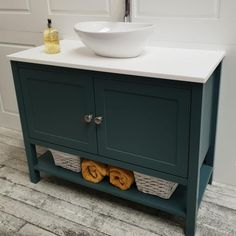 Ava Door Single Sit On Basin Vanity Unit - Harvey George Hand Painted Furniture Basin Vanity Unit, Bespoke Bathroom, Kitchens And Bedrooms, Bathroom Units, Bathroom Vanity Units, Painted Vanity Bathroom, Bathroom Design Small, Bathroom Design, Wooden Bathroom Vanity