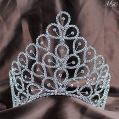Flower Full Crown Clear Austrian Rhinestones Tiaras Wedding Bridal Pageant  16CM  Handmade  Tiara Flower dadfa72859c4