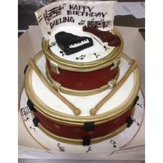 Set of Drums cake 3rd Birthday, Happy Birthday, Drum Cake, Tiramisu, Ethnic Recipes, Desserts, Food, 3 Year Olds, Happy Brithday