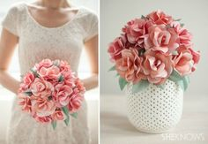 DIY Paper Rose Bridal Bouquet   10 DIY Rolled Paper Crafts From Recycled Magazines