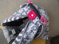 Carseat Canopy Grey Scroll Chevron REVERSIBLE You Choose Colors For Flower and Bows