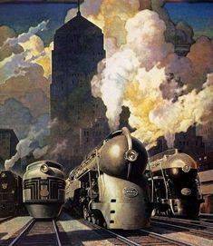 New York Central ~ Fine-Art Print - Vintage United States Travel Art Prints and Posters - Vintage Travel Pictures Poster Art, Art Deco Posters, Print Poster, New York Central Railroad, Systems Art, Train Posters, Art Deco Print, Art Vintage, Vintage Style