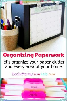 Getting Organized at Home - Paperwork Storage and Organization Hacks - When it comes to reducing paper clutter in your home, you need to come up with a simple paperwork storage and organization system so you don't end up with all those PILES of mail, bills, magazines, etc ALL over your home. Organisation Hacks, Organizing Hacks, Organizing Paperwork, Bedroom Organization Diy, Household Organization, Home Office Organization, Diy Hacks, Clutter Organization, Household Binder