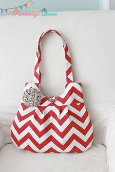 Red and Cream Chevron Handmade Purse by TheParsonageQueen, $35.00