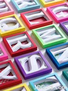 Alphabet Shadow Boxes by 3dCuts.com - Cutting files in .svg - So many possibilities