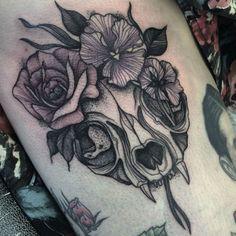 Cat Skull Flower Crown Tattoo