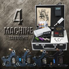 4 Black Machine Complete Tattoo Kit