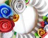 10 Inch White on Grey - Felt and Yarn Wreath - The Original Felt Yarn Wreath -  Door Decoration in Stripes