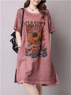 Ericdress Imprimir una línea de vestido de manga corta floja ocasional