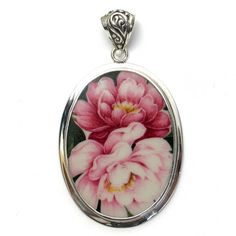 Broken China Jewelry Light and Dark Pink Double Peony Large Oval Sterling Pendant