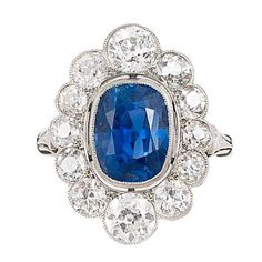 Phenomenal Edwardian Untreated Sapphire Diamond Platinum Ring | From a unique collection of vintage engagement rings at https://www.1stdibs.com/jewelry/rings/engagement-rings/