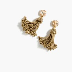 Tassel earrings clearly aren't going anywhere anytime soon...and these beaded ones are our latest favorite take. Length: 2. Brass casting, glass stone. Light gold ox plating. Import.