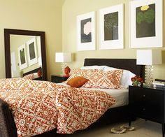 Green and coral master bedroom ideas