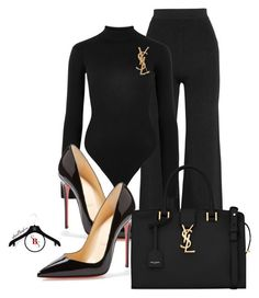 Black and YSL by spivey-adrian on Polyvore featuring polyvore fashion style Yeezy by Kanye West Balmain Christian Louboutin Yves Saint Laurent clothing
