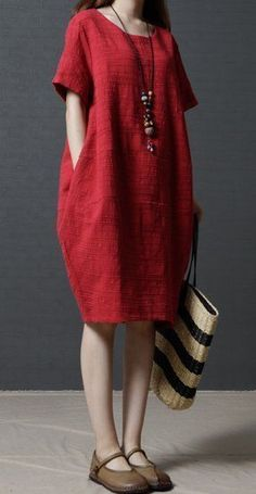 Women loose fit plus over size pocket dress red tunic fashion trendy casual chic. Women loose fit plus over size pocket dress red tunic fashion trendy casual chic Korea Style Loose Cotton. Red Dress Casual, Casual Dresses, Fashion Dresses, Dress Red, Fashion Shoes, Fashion Clothes, Casual Outfits, Linen Dresses, White Outfits