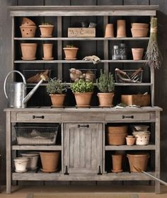 potting bench with sink | Potting benches by Clbunce Station D'empotage, Potting Station, Potting Tables, Rustic Potting Benches, Rustic Hutch, Outdoor Potting Bench, Outdoor Buffet, Rustic Shelves, Dining Tables