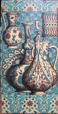 This coloured panel was designed by Piero Fornasetti for the Hilton in Istanbul. It features Iznik pottery vessels and ceramic tiles in shades of blue and red. It is a hand-painted lithograph, transfer-printed onto Masonite. Tile Murals, Tile Art, Piero Fornasetti, Turkish Tiles, Islamic Art, Islamic Tiles, Hand Painted Ceramics, Art And Architecture, New Art