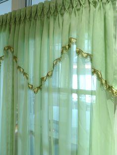 Mint Green Drape -   Pinch Pleated Sheer  - Bedroom drapes.  Boudoir Curtain. $98.00, via Etsy.