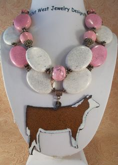 Cowgirl Necklace Set - Chunky Pink and White Howlite Turquoise with a Hereford Show Heifer Pendant - pinned by pin4etsy.com