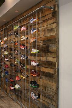 pallet shoe wall... lighting... chalkboard