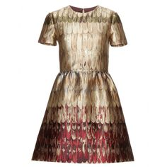Valentino - Printed metallic silk-blend dress - Valentino's metallic silk-blend dress is beyond stunning. The fit-and-flare design has cropped sleeves and a structured cut. A burnished patina adorns the fabric in an array of gold, green and red - perfect for fall. seen @ www.mytheresa.com