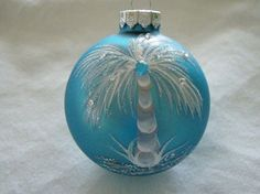 Tropical hand painted Turquoise glass ornament