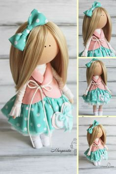 Nursery decor doll green rose blonde Fabric doll Decor doll Baby doll Cloth doll Tilda doll magic doll by Master Margarita Hilko  This is unique magic doll created by Master Margarita Hilko (Kiev, Ukraine).  Doll is 29-31 cm tall. Doll can be a great present for your children, family, colleages or friends.  Style of doll easily helps to use such doll as home decoration and interior design.