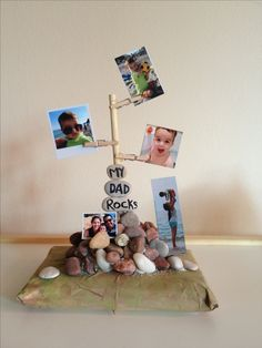 Gift idea for birthday or fathers day. Kids craft, diy gift. Home made with love. Dad rocks.