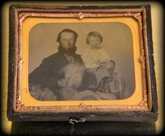 Antique Tintype (Sixth 1/6th Plate) Landscape/ Horizontal Portrait Man, His Child, and Their Dog in Half Case with Mat and Preserver