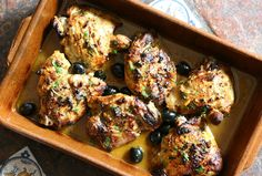 Roast chicken with preserved lemons and olives