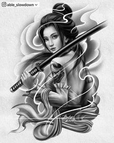 Japanese Girl Tattoo, Japanese Warrior Tattoo, Japanese Tattoo Designs, Geisha Tattoo Design, Japan Tattoo Design, Tattoo Design Drawings, Geisha Tattoo For Men, Geisha Tattoo Sleeve, Female Samurai Tattoo