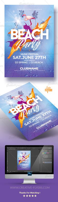 "Summer Beach Party Flyer Template ! If you liked this style, enjoy downloading this Photoshop Psd Template ""Beach Party Flyer"", a first-rate design perfect to promote your Summer Party ! #summer #beach #party #flyer #psd #template #creative #posters #festival #event #music"