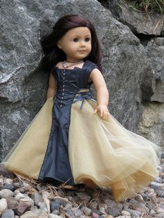 "Beautiful flowing long gown with laces for American Girl 18"" Doll. . ""Cadewyn"" is a Melody Valerie Couture original design, and is completely OOAK.  Steampunk. Sewing Inspiration."