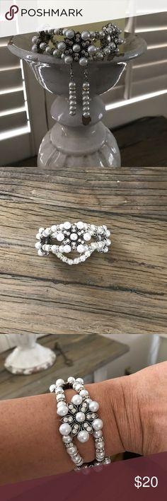 Stretchy Faux Pearl Bracelet & Earrings Double Stringed Faux Pearl Bracelet with matching earrings Idrisso2014 Jewelry Bracelets
