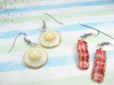 Bacon and Egg Earrings 2 pairs by beadpassion on Etsy, $7.50