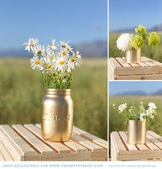 so easy to create these beautiful gold vases, soup cans, bean cans, etc...