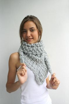 Free Shipping Handmade Crochet  Silver Gray Triangle  Midi Shawl scarf collar Capelet Cowl with tiny Balloons Mothers Day Gift