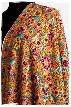 The Antiquaires Shawl Collection — Seasons by The Kashmir Company Floral Embroidery Patterns, Embroidery Works, Hand Embroidery Designs, Kashmiri Suits, Kashmiri Shawls, Textiles, Pashmina Shawl, Kawaii Clothes, Shawls And Wraps