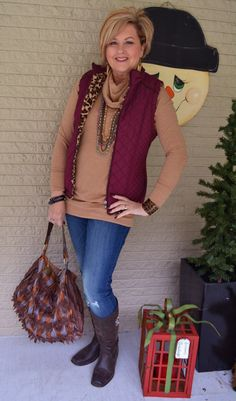 Fashion over 40 for the everyday woman. Vest, leopard, and jeans all at 50isnotold.com