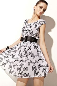 Butterfly Printing Elastic Waist Pleated Dress