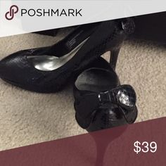 "White House| Black Market ""Myers"" Snake skin pumps, bow at heel White House Black Market Shoes Heels"