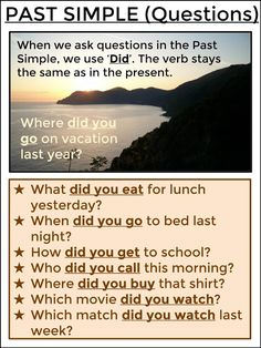 PAST SIMPLE - Questions English Grammar Tenses, Grammar Book, English Verbs, Learn English Grammar, Learn English Words, English Phrases, English Language Learning, English Lessons, Teaching English