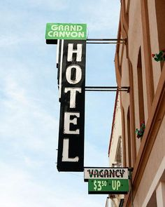 A fine art photo of the Grand Canyon Hotel sign in Williams, Arizona.
