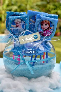 FRASCO porta chupetines Elsa And Anna Birthday Party, Frozen Birthday Party, Birthday Party Favors, Frozen Party Decorations, Frozen Theme Party, Elsa Frozen, Disney Frozen, Candy Bar Frozen, Marti