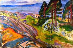 Pine Trees and Fruit Trees in Blossom, Edvard Munch, 1911