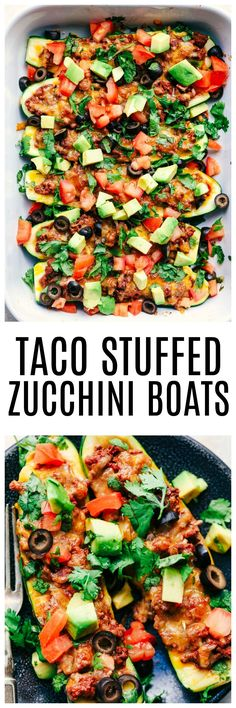 Taco Stuffed Zucchini Boats are loaded with taco seasoned ground beef, cheese and topped with your favorite toppings. These make a delicious low carb meal and are perfect for using up that zucchini!