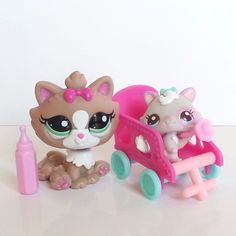 Littlest Pet Shop Cat Kitten 2627 Himalayan 2640 Cutest Pets Mommy Baby LOT HTF #Hasbro