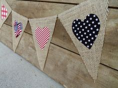 4th of July Patriotic Burlap Banner Bunting / Memorial Day Decorations / Photography Prop on Etsy, $26.00