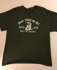 f70f12fe Don't Tread On Me Snake American Patriotic T-Shirt Mens Sz Medium Green